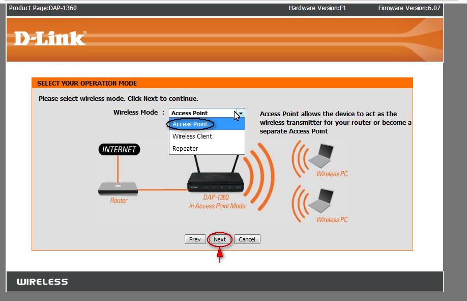 انتخاب مود access point